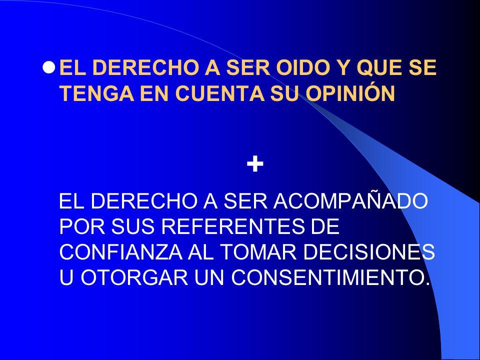 + EL DERECHO A SER OIDO Y QUE SE TENGA EN CUENTA SU OPINIÓN