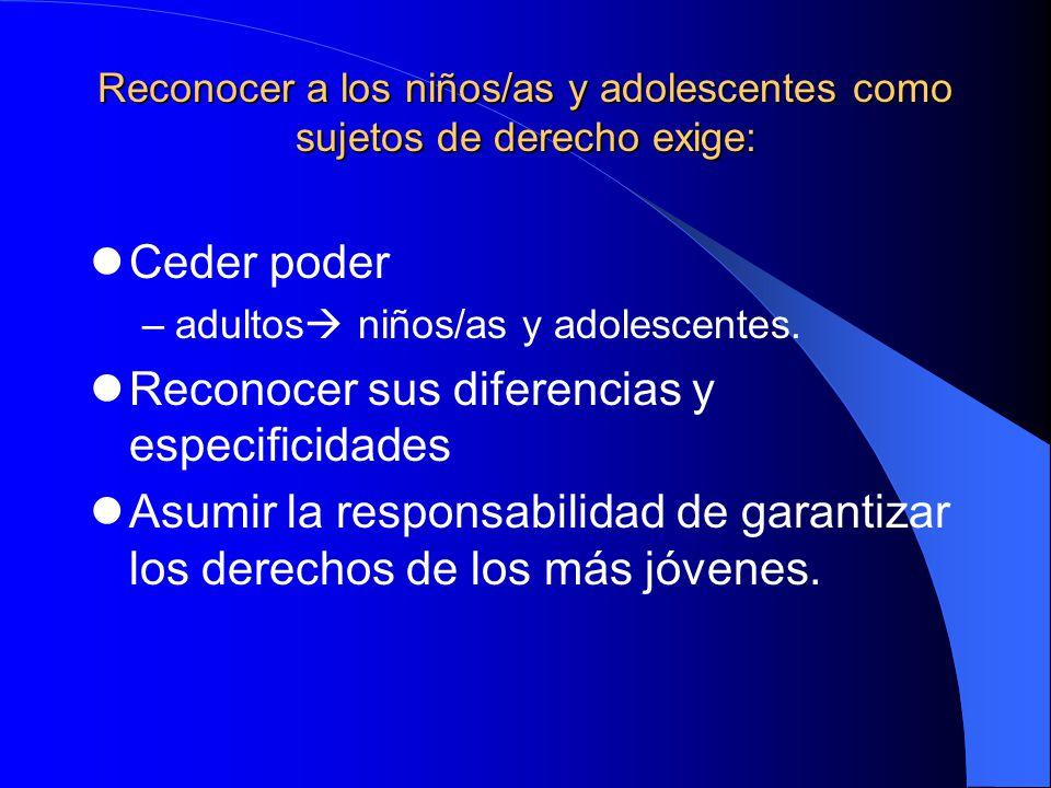 Reconocer a los niños/as y adolescentes como sujetos de derecho exige: