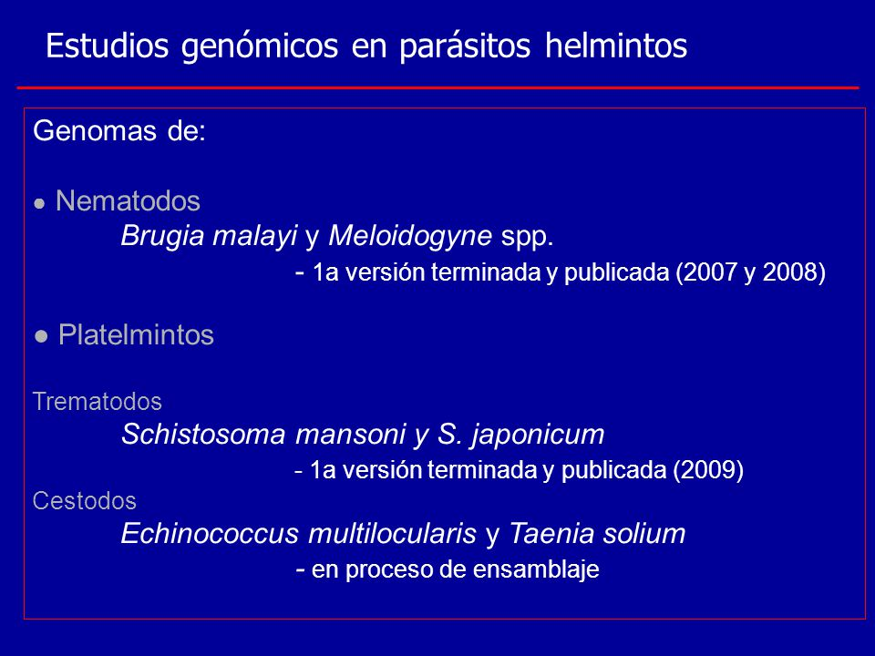 Estudios genómicos en parásitos helmintos
