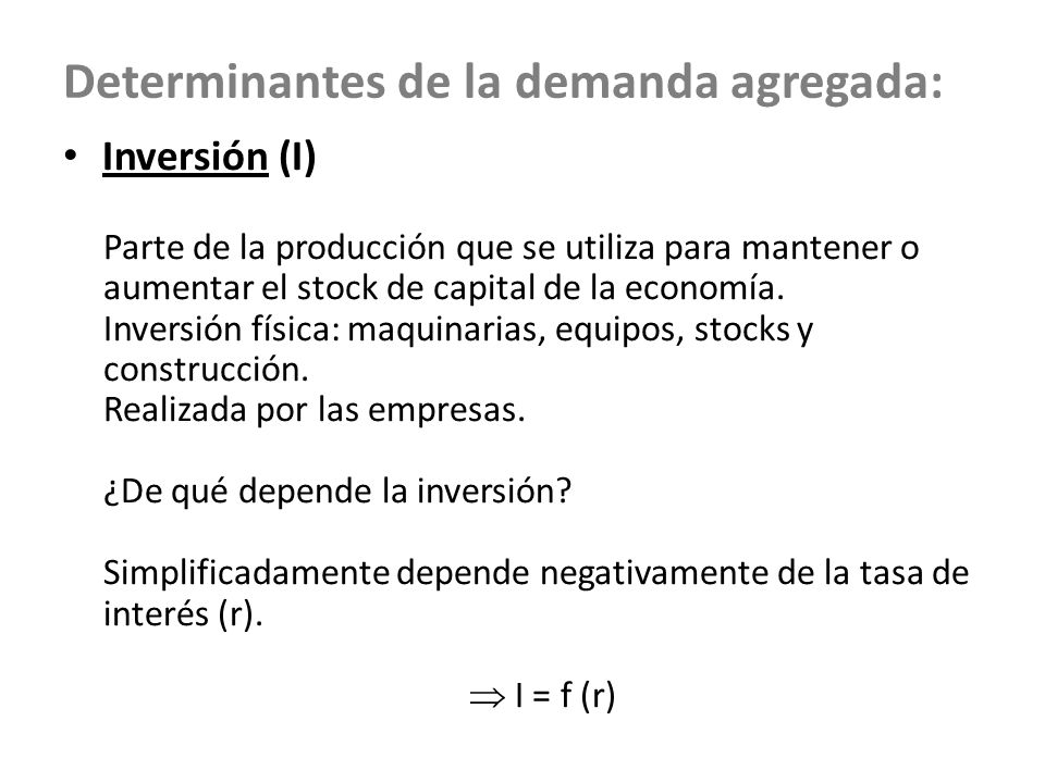Determinantes de la demanda agregada: