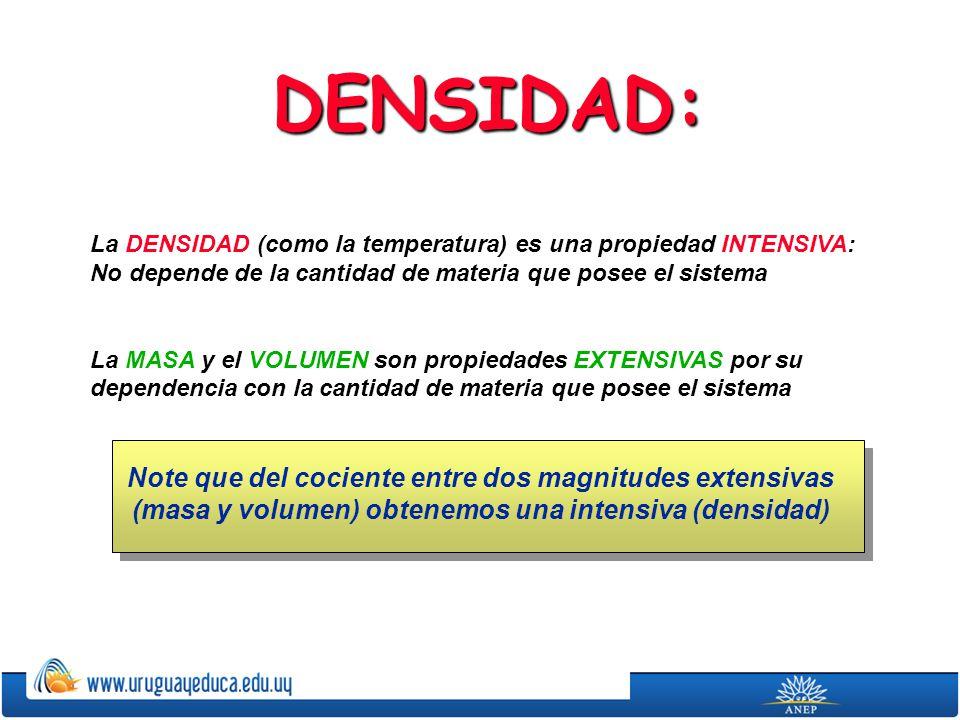 DENSIDAD: La DENSIDAD (como la temperatura) es una propiedad INTENSIVA: No depende de la cantidad de materia que posee el sistema.