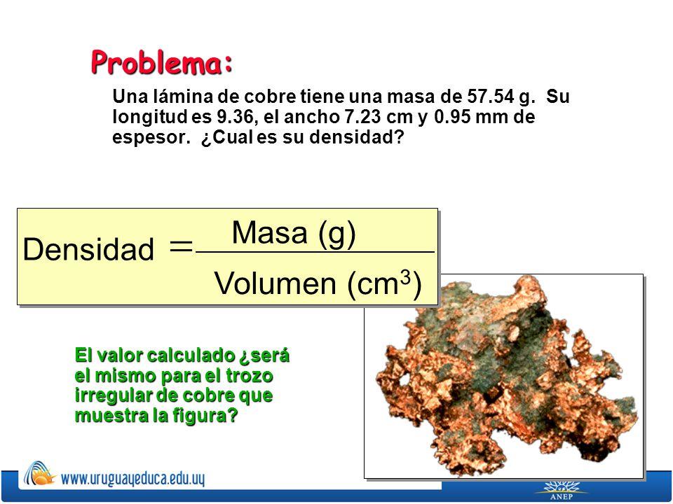 = Masa (g) Densidad Volumen (cm3) Problema: