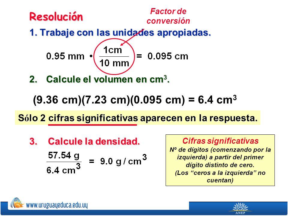 Resolución (9.36 cm)(7.23 cm)(0.095 cm) = 6.4 cm3