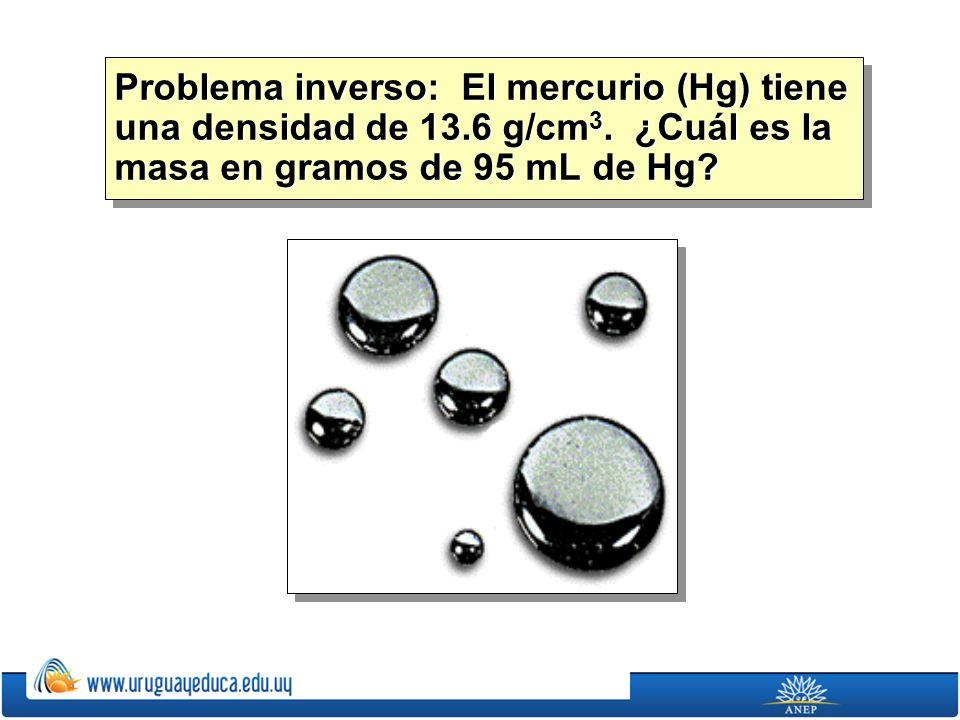 Problema inverso: El mercurio (Hg) tiene una densidad de 13. 6 g/cm3