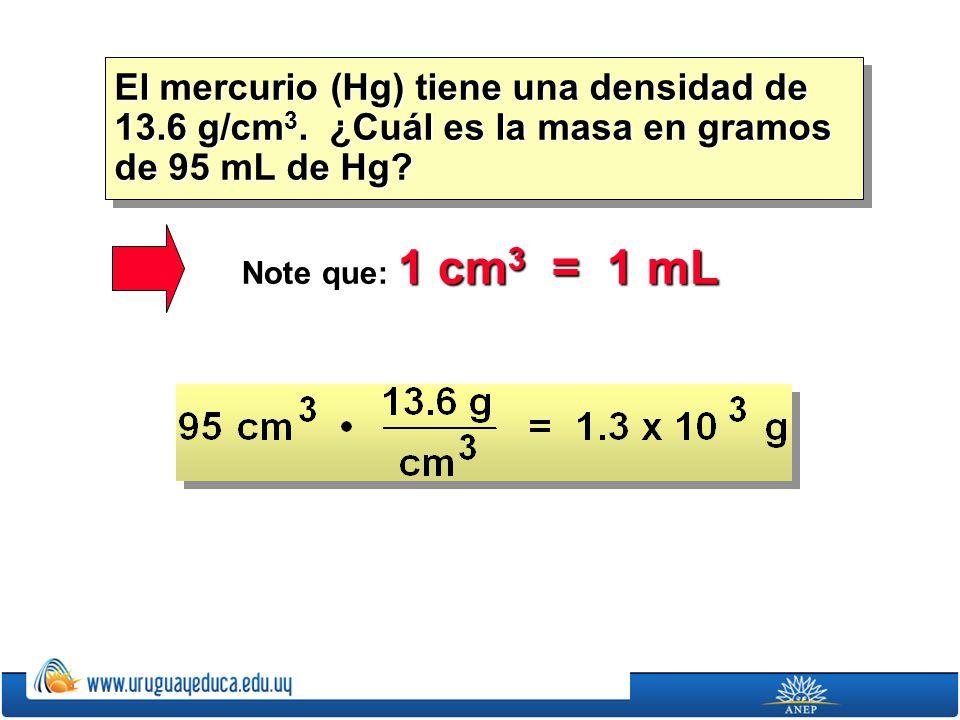El mercurio (Hg) tiene una densidad de 13. 6 g/cm3
