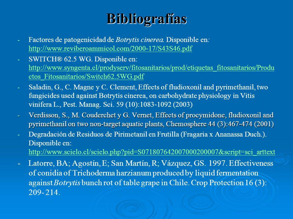 Bibliografías Factores de patogenicidad de Botrytis cinerea. Disponible en: http://www.reviberoammicol.com/2000-17/S43S46.pdf.