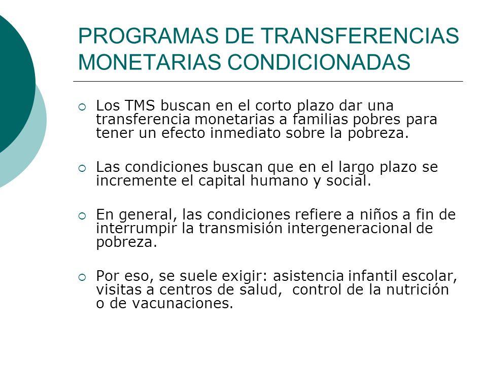 PROGRAMAS DE TRANSFERENCIAS MONETARIAS CONDICIONADAS