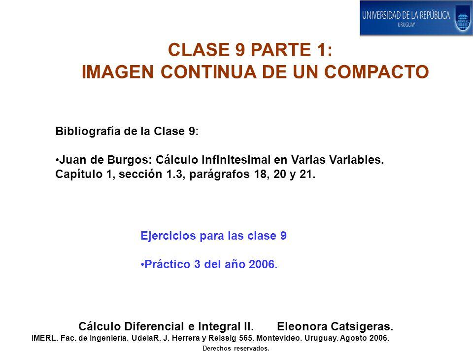 CLASE 9 PARTE 1: IMAGEN CONTINUA DE UN COMPACTO