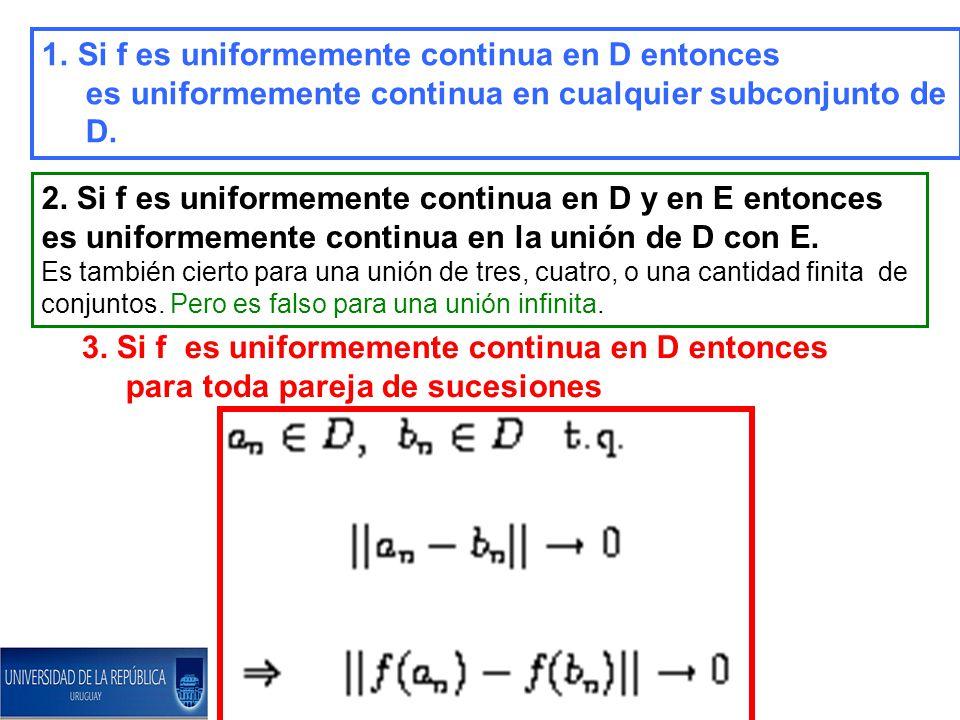 Si f es uniformemente continua en D entonces