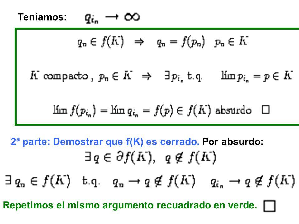 Teníamos: 2ª parte: Demostrar que f(K) es cerrado.
