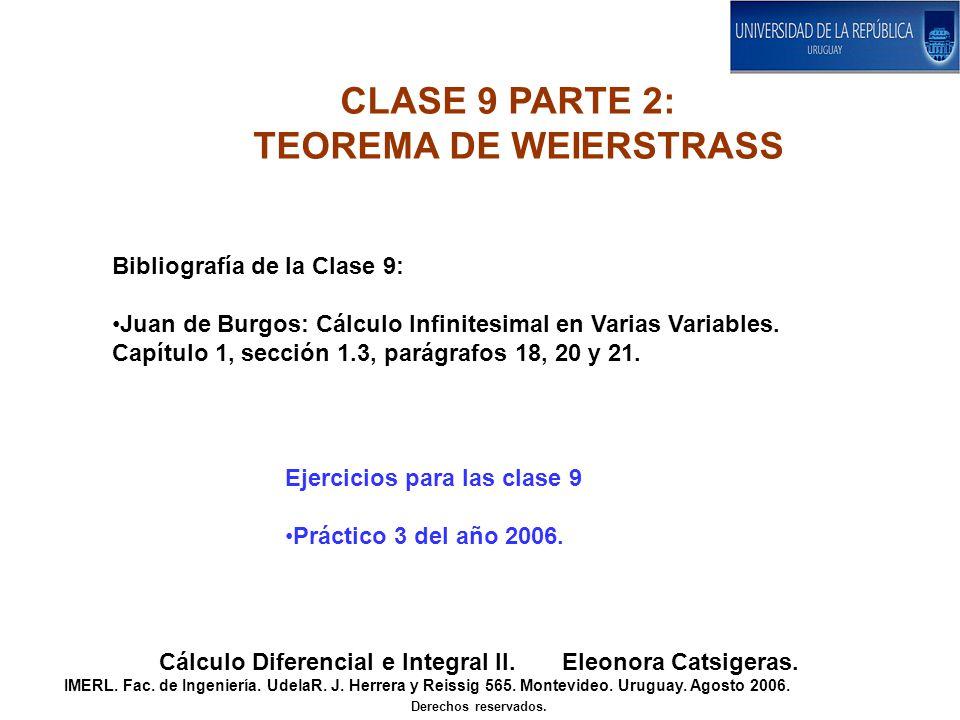 CLASE 9 PARTE 2: TEOREMA DE WEIERSTRASS