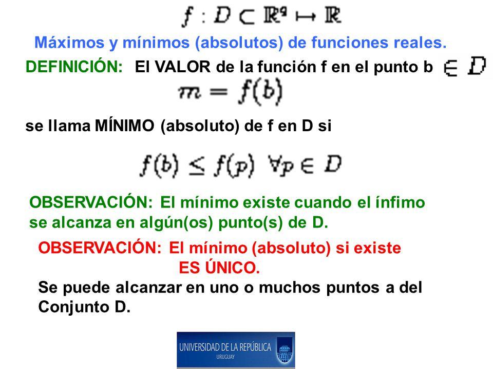 Máximos y mínimos (absolutos) de funciones reales.