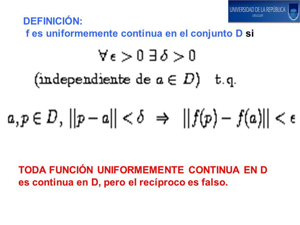 DEFINICIÓN: f es uniformemente continua en el conjunto D si. TODA FUNCIÓN UNIFORMEMENTE CONTINUA EN D.