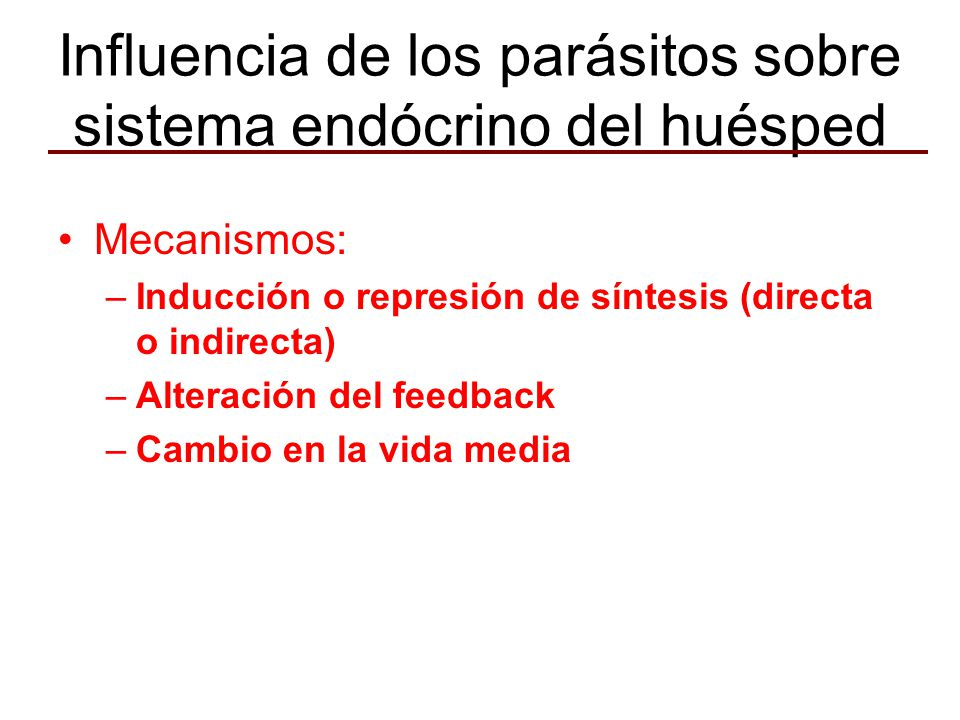 Influencia de los parásitos sobre sistema endócrino del huésped