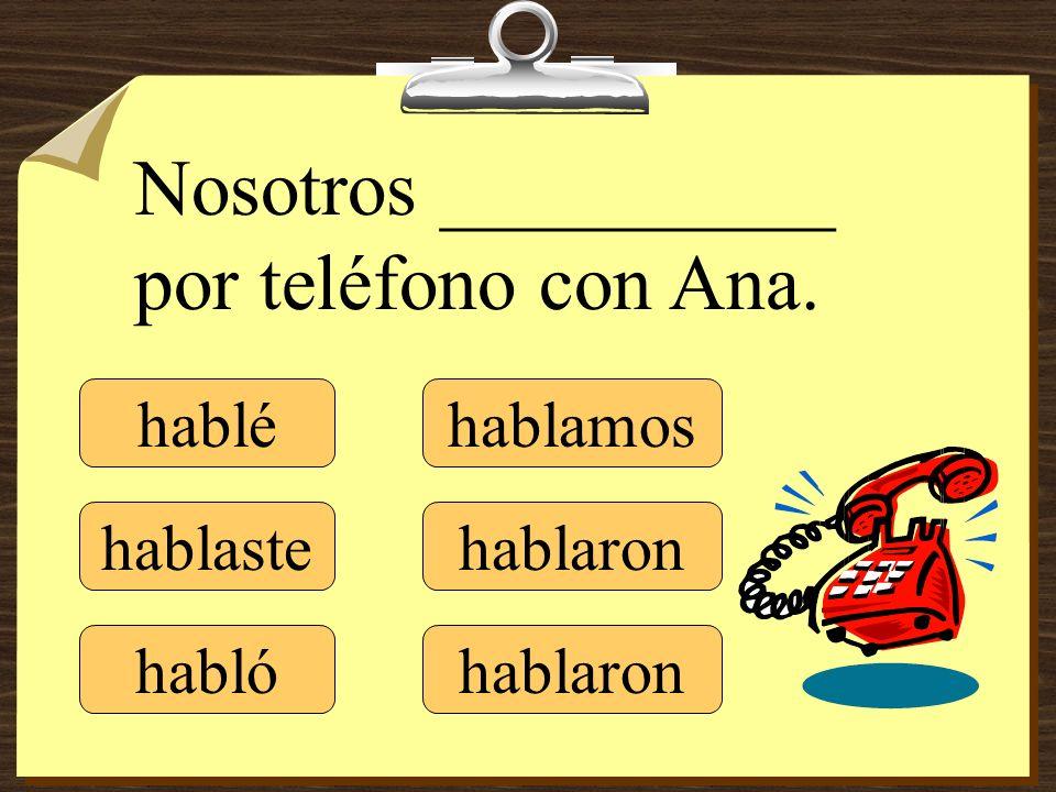 Nosotros __________ por teléfono con Ana.