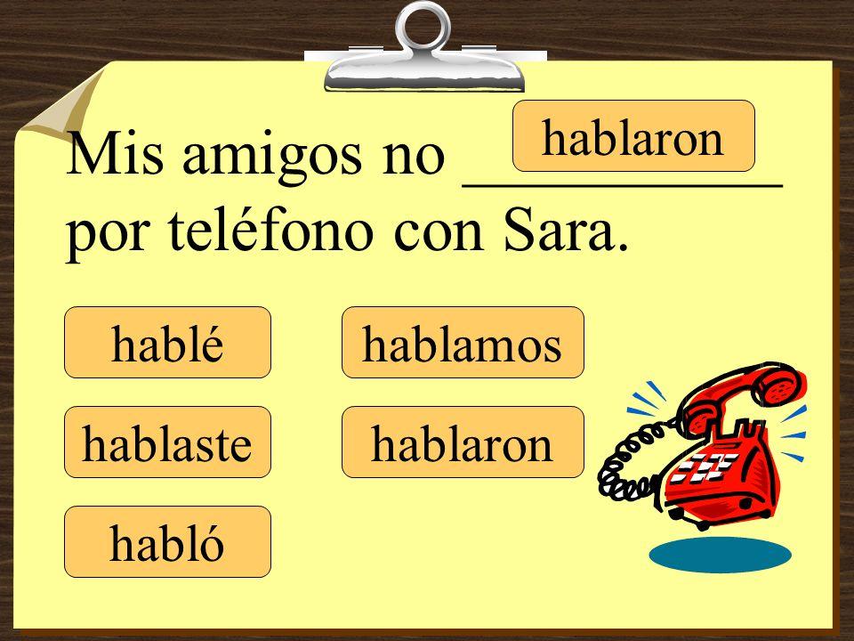 Mis amigos no __________ por teléfono con Sara.