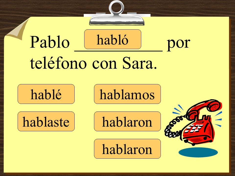 Pablo __________ por teléfono con Sara.