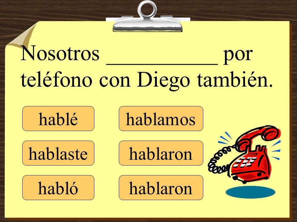 Nosotros __________ por teléfono con Diego también.