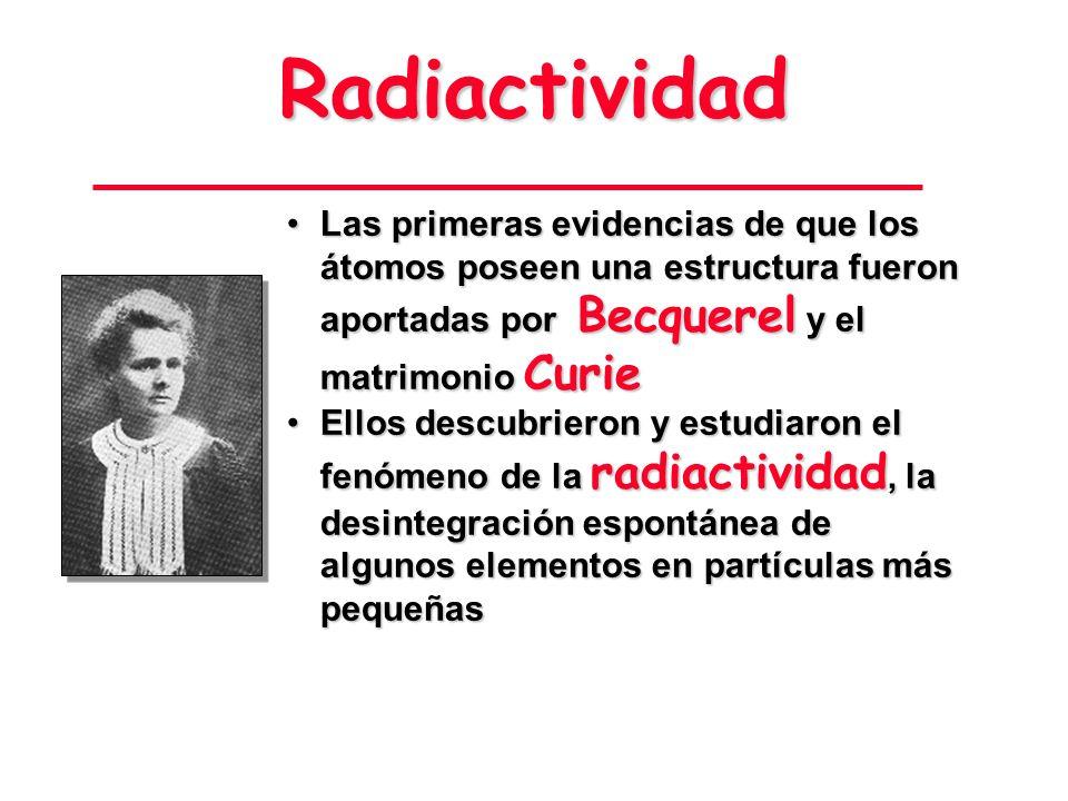 Radiactividad Las primeras evidencias de que los átomos poseen una estructura fueron aportadas por Becquerel y el matrimonio Curie.