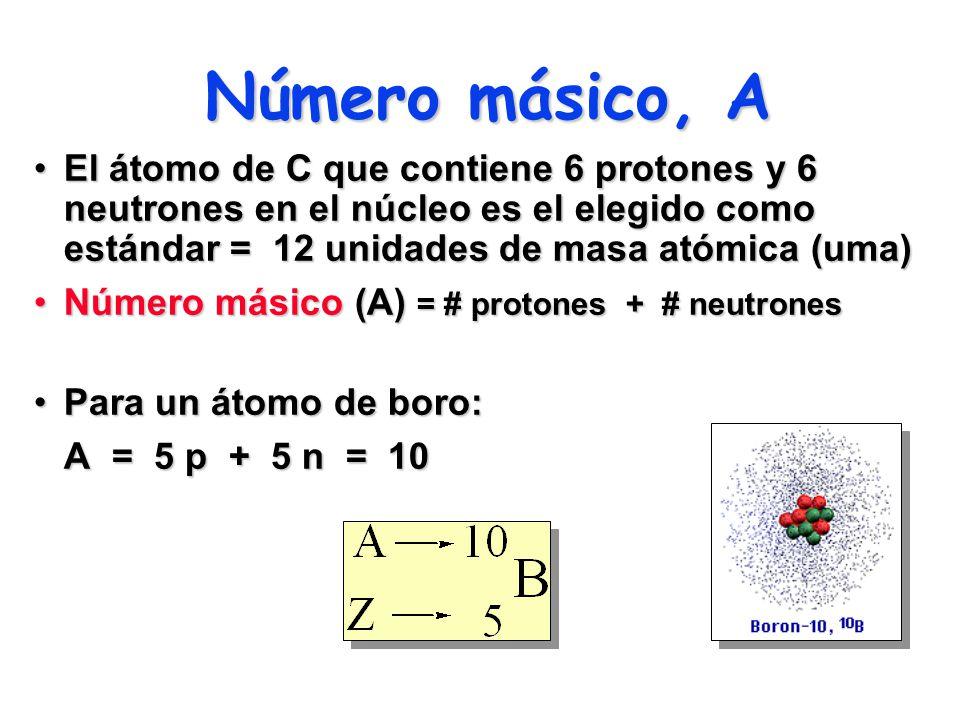 Número másico, A El átomo de C que contiene 6 protones y 6 neutrones en el núcleo es el elegido como estándar = 12 unidades de masa atómica (uma)