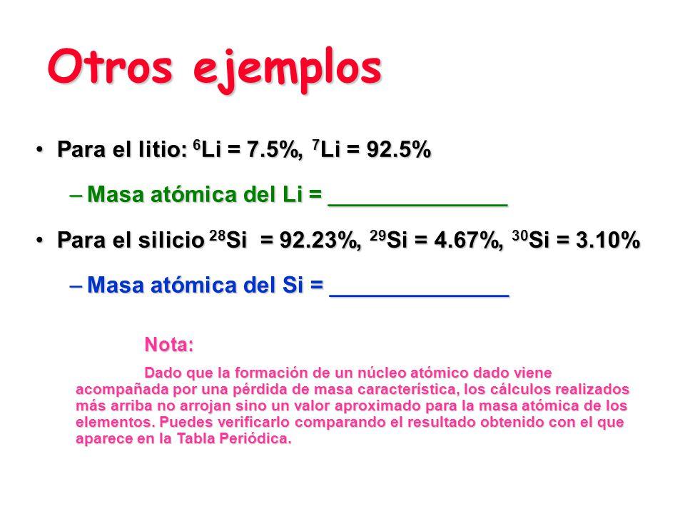 Otros ejemplos Para el litio: 6Li = 7.5%, 7Li = 92.5%