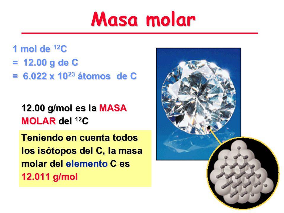 Masa molar 1 mol de 12C = 12.00 g de C = 6.022 x 1023 átomos de C
