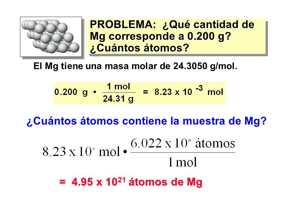 PROBLEMA: ¿Qué cantidad de Mg corresponde a 0.200 g ¿Cuántos átomos
