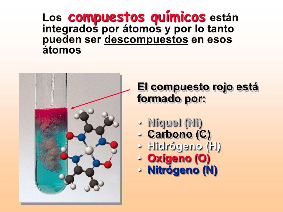 Los compuestos químicos están integrados por átomos y por lo tanto pueden ser descompuestos en esos átomos