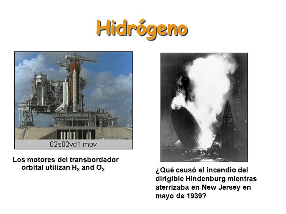Hidrógeno Los motores del transbordador orbital utilizan H2 and O2