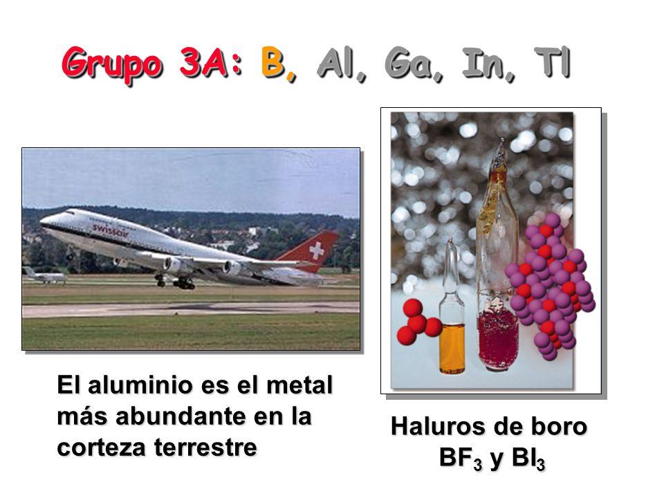 Grupo 3A: B, Al, Ga, In, Tl El aluminio es el metal más abundante en la corteza terrestre.