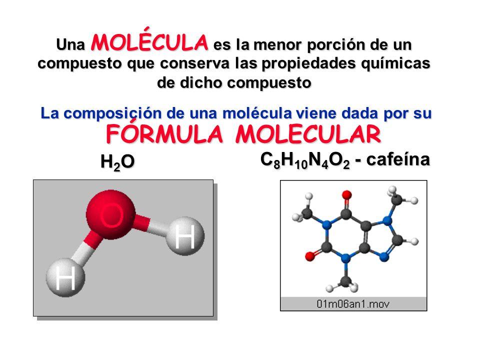 La composición de una molécula viene dada por su FÓRMULA MOLECULAR