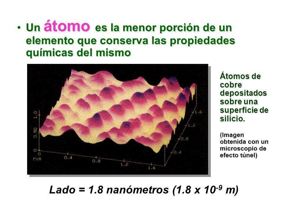 Lado = 1.8 nanómetros (1.8 x 10-9 m)