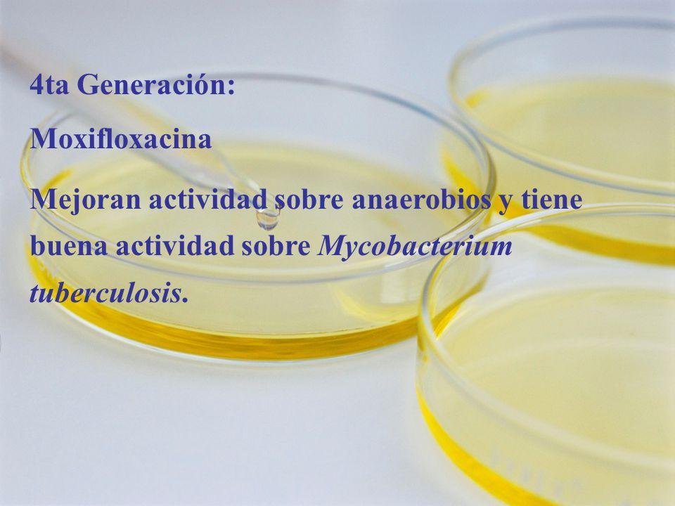 4ta Generación: Moxifloxacina.