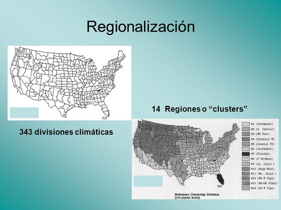 Regionalización 14 Regiones o clusters 343 divisiones climáticas
