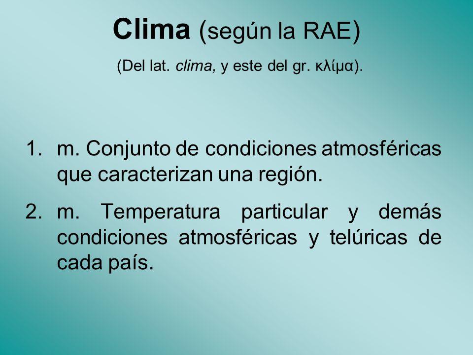 Clima (según la RAE) (Del lat. clima, y este del gr. κλίμα).