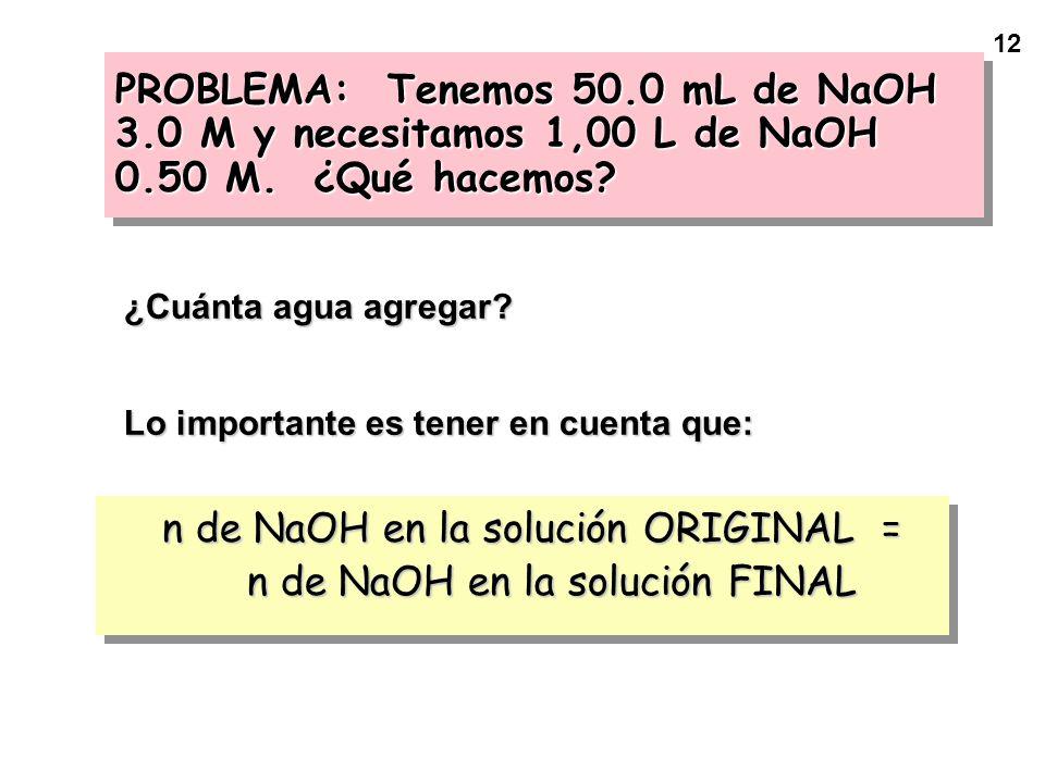 n de NaOH en la solución ORIGINAL = n de NaOH en la solución FINAL