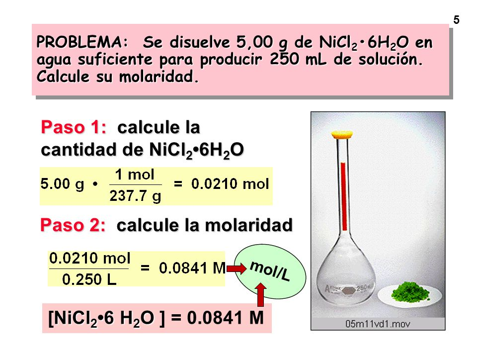 Paso 1: calcule la cantidad de NiCl2•6H2O