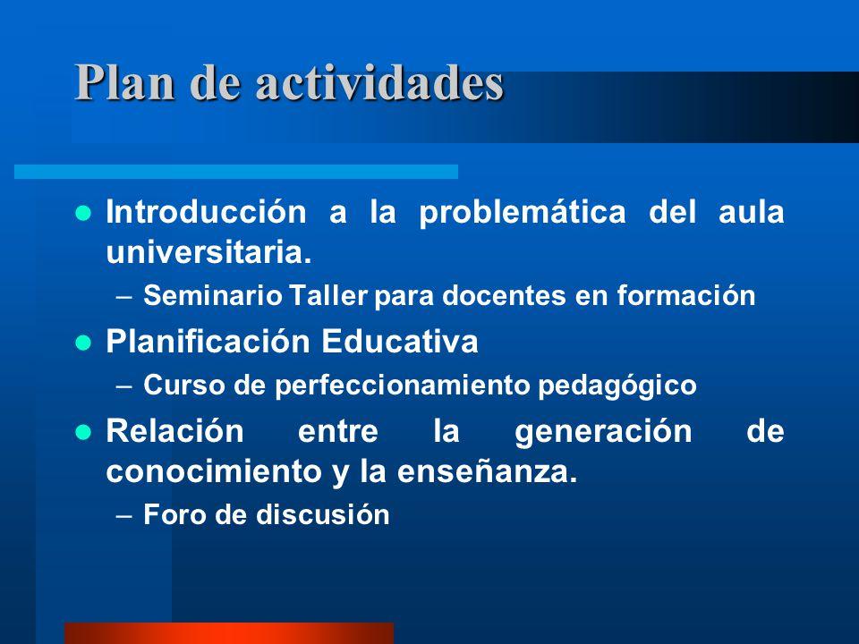 Plan de actividades Introducción a la problemática del aula universitaria. Seminario Taller para docentes en formación.