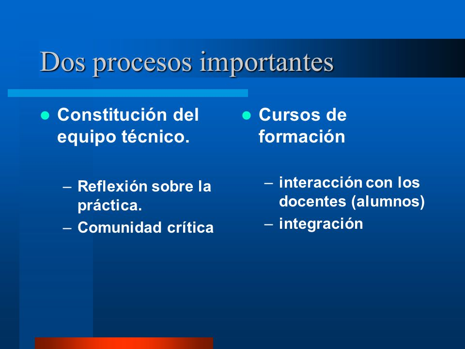 Dos procesos importantes