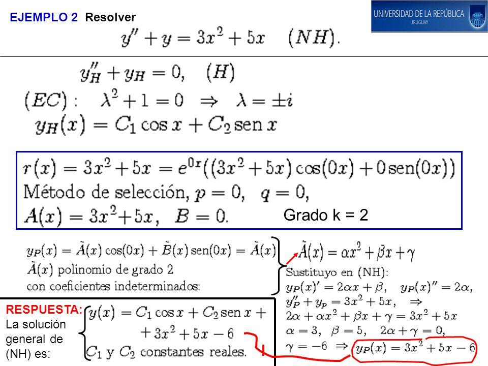 EJEMPLO 2 Resolver Grado k = 2 RESPUESTA: La solución general de (NH) es: