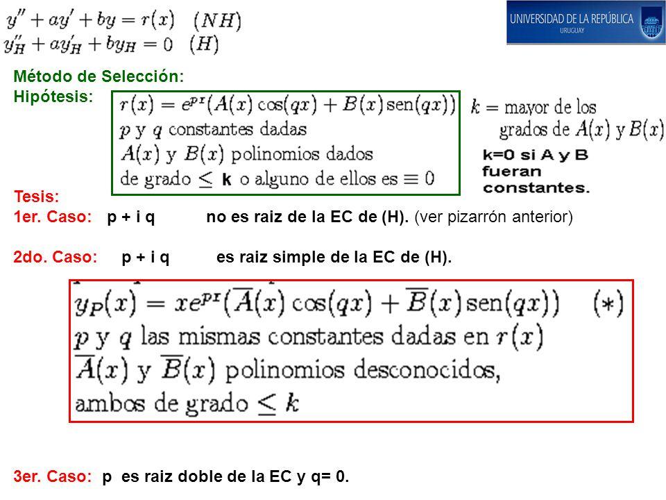 Método de Selección: Hipótesis: Tesis: 1er. Caso: p + i q no es raiz de la EC de (H). (ver pizarrón anterior)