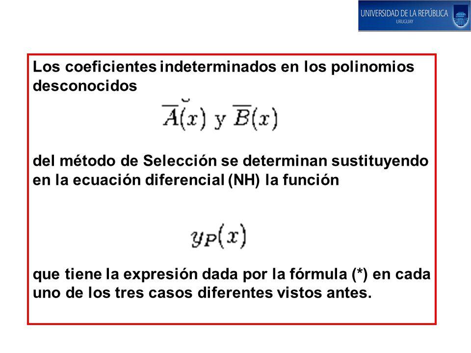 Los coeficientes indeterminados en los polinomios desconocidos