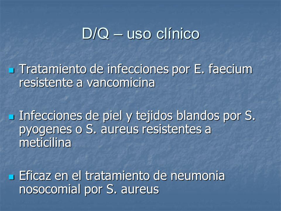 D/Q – uso clínico Tratamiento de infecciones por E. faecium resistente a vancomicina.