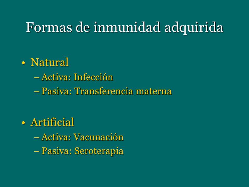 Formas de inmunidad adquirida