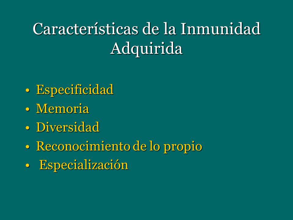 Características de la Inmunidad Adquirida