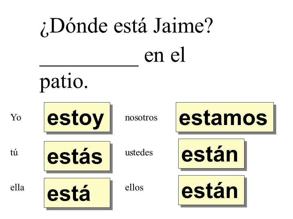 ¿Dónde está Jaime _________ en el patio. estoy estamos están estás