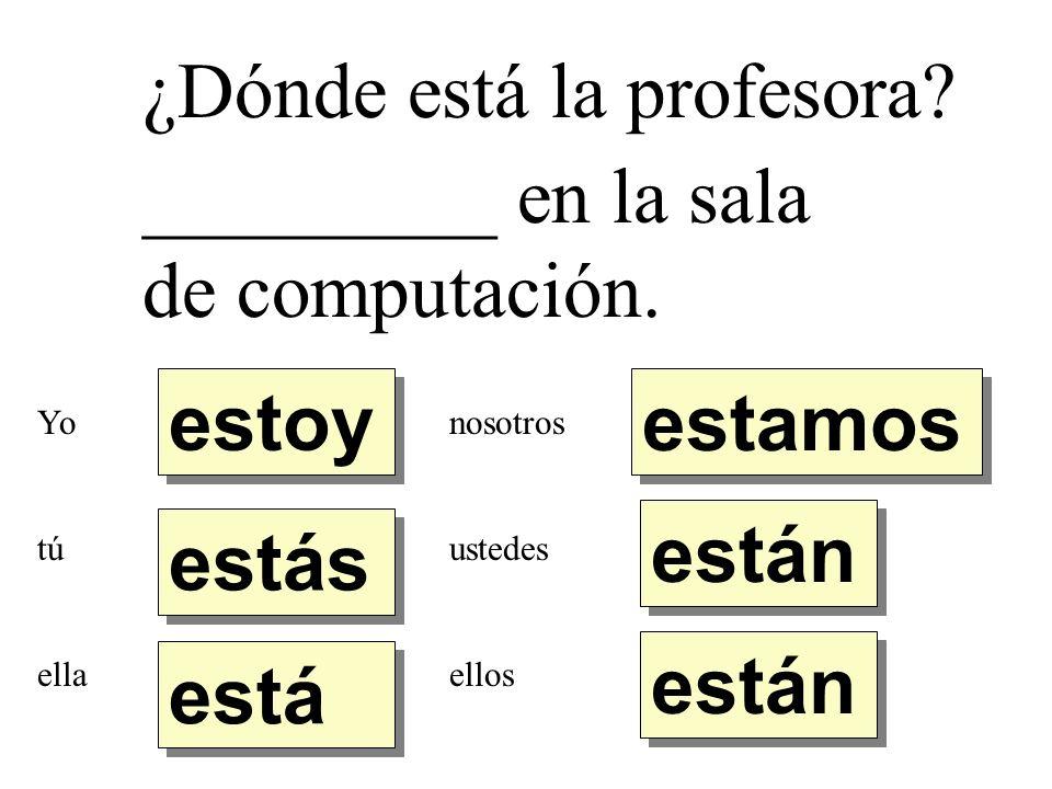¿Dónde está la profesora _________ en la sala de computación.
