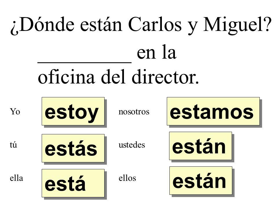 ¿Dónde están Carlos y Miguel _________ en la oficina del director.