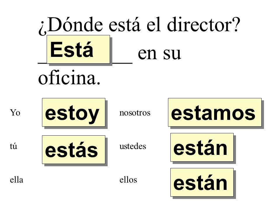 ¿Dónde está el director Está _________ en su oficina.