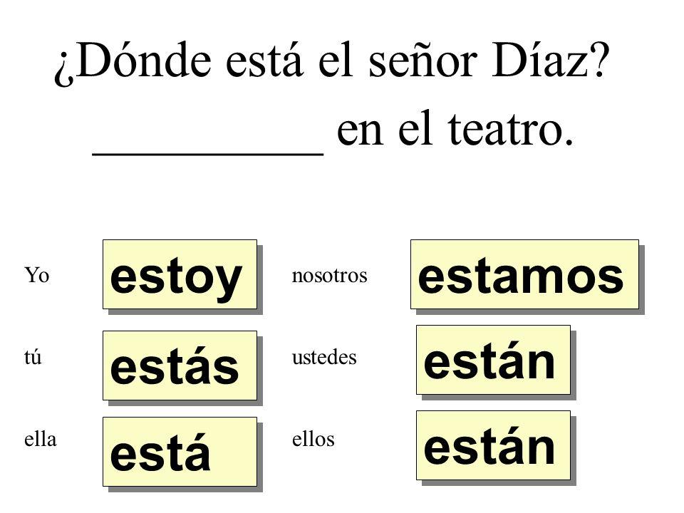 ¿Dónde está el señor Díaz _________ en el teatro.
